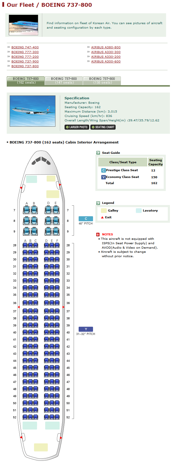 KOREAN AIR AIRLINES BOEING 737-800 AIRCRAFT SEATING CHART