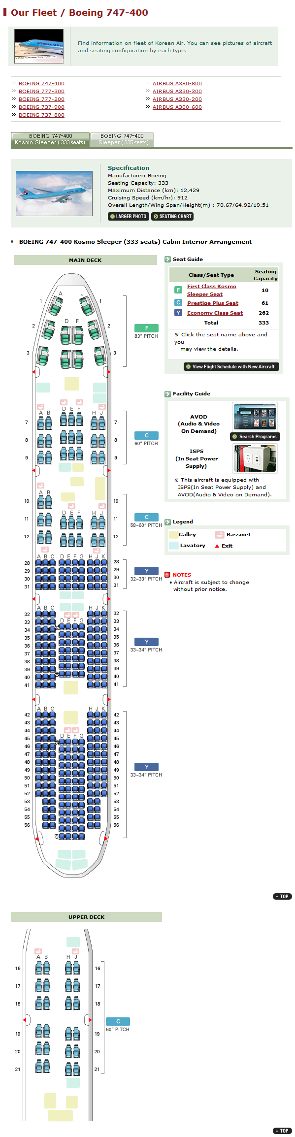 KOREAN AIR AIRLINES BOEING 747-400 AIRCRAFT SEATING CHART