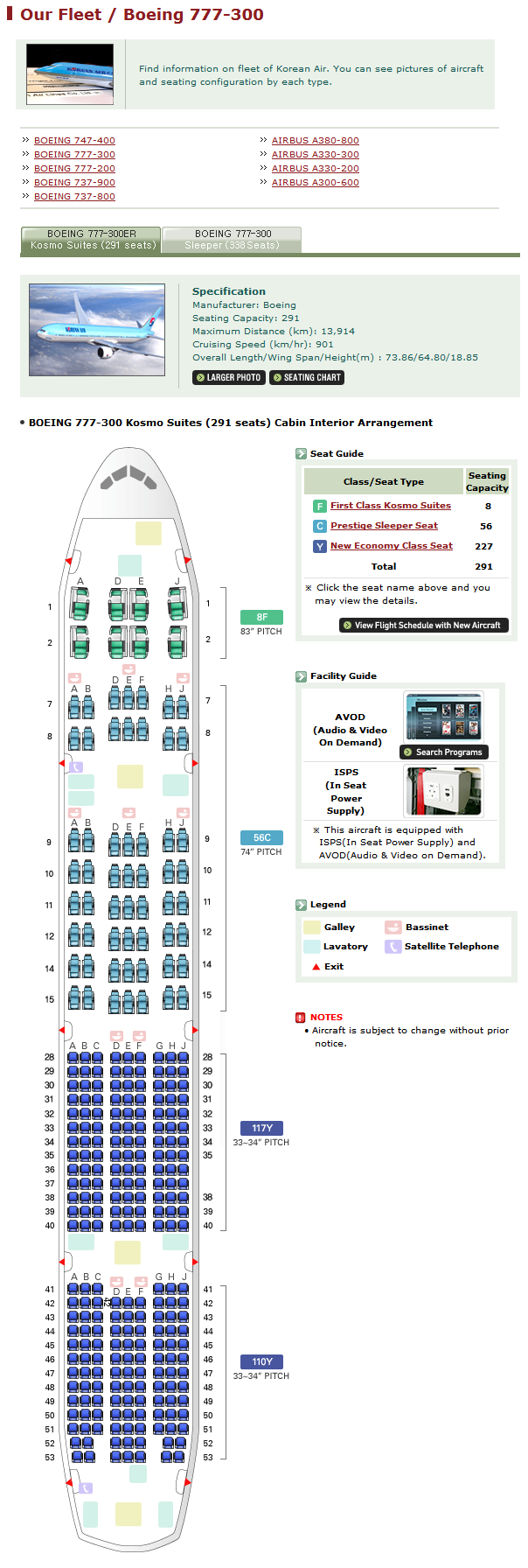 KOREAN AIR AIRLINES BOEING 777-300 AIRCRAFT SEATING CHART