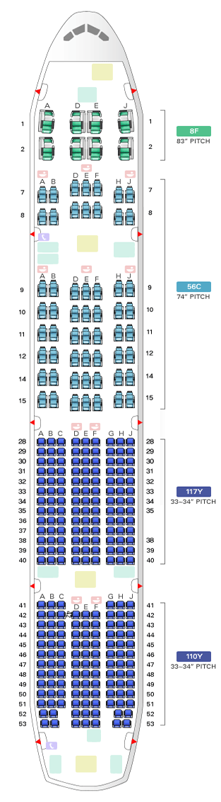 BOEING 777-300 KOREAN AIRLINES SEATING CHART