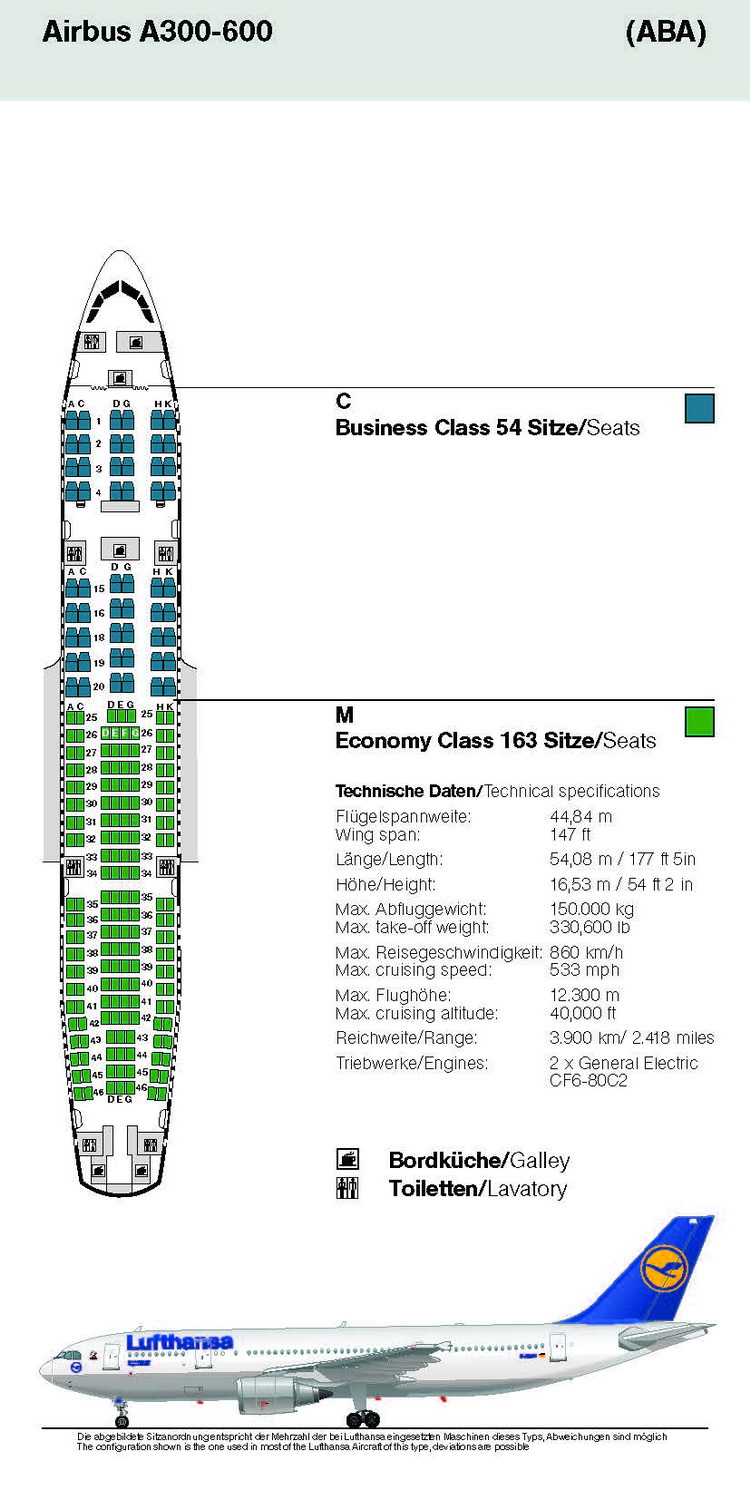 LUFTHANSA AIRLINES AIRBUS A300-600 AIRCRAFT SEATING CHART