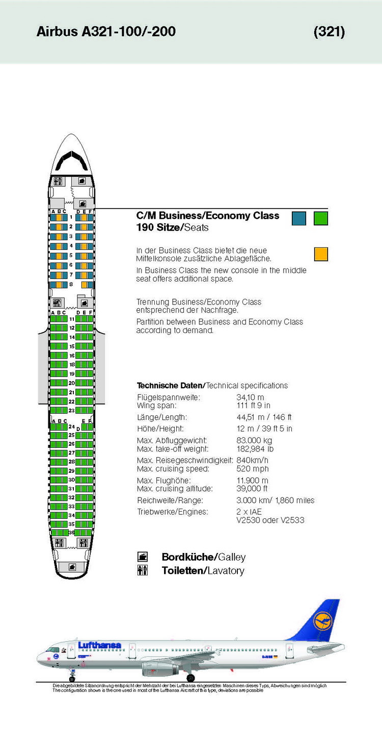 Lufthansa Airlines Airbus A321 100 Aircraft Seating Chart