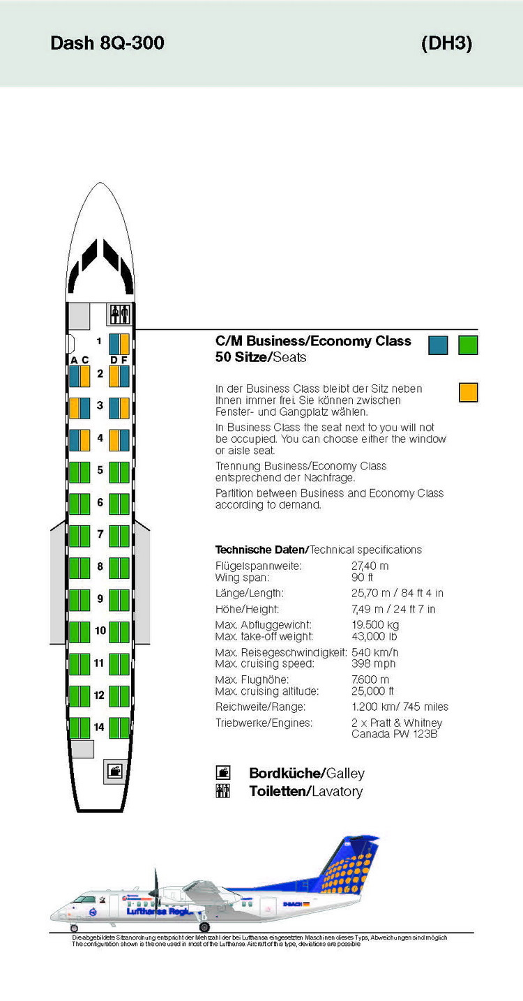 LUFTHANSA AIRLINES DASH 8Q-300 AIRCRAFT SEATING CHART