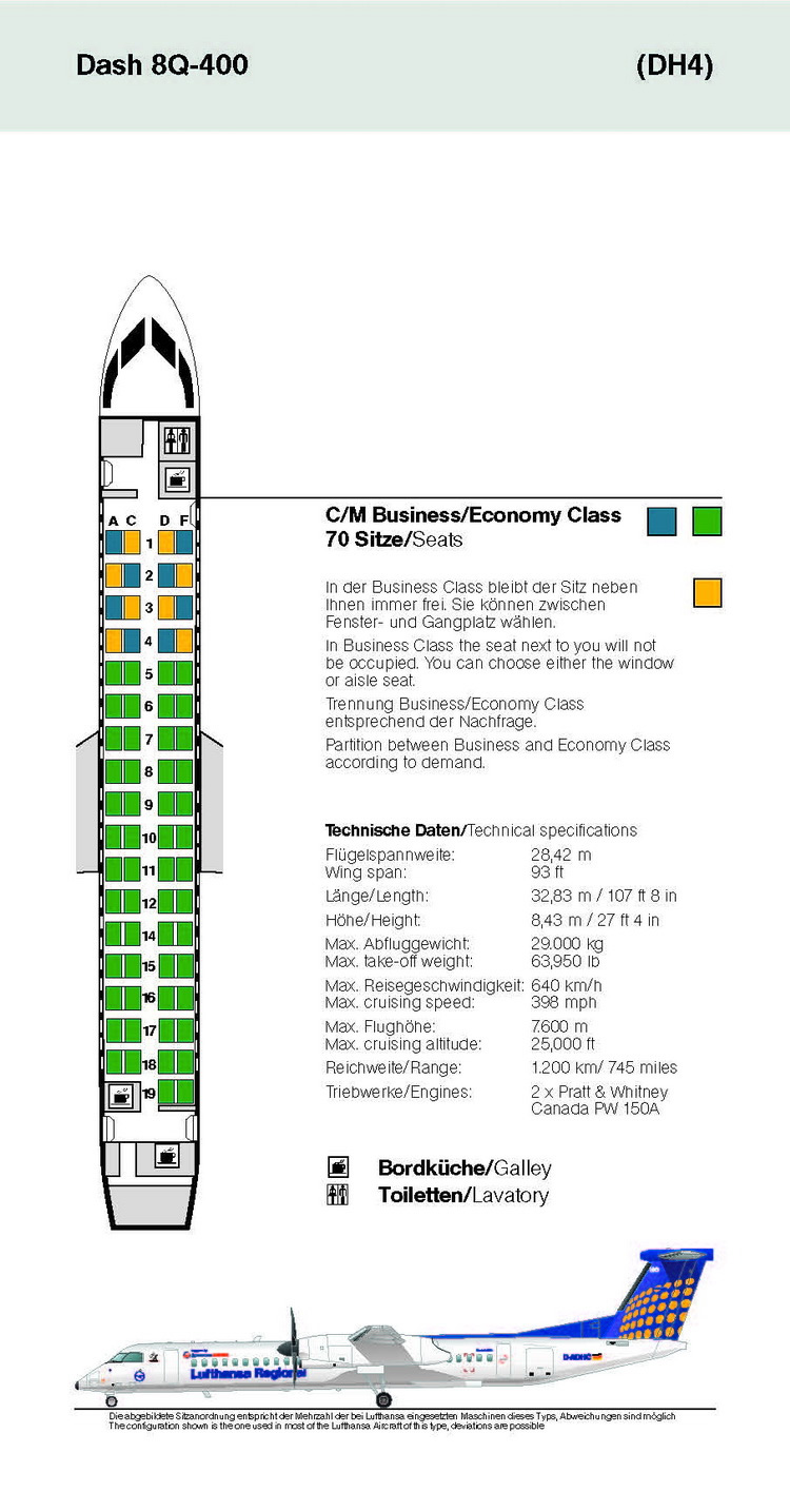 LUFTHANSA AIRLINES DASH 8Q-400 AIRCRAFT SEATING CHART