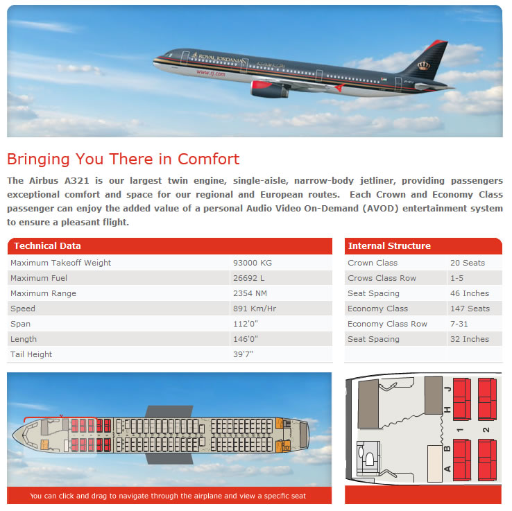 ROYAL JORDANIAN AIRLINES AIRBUS A321 AIRCRAFT SEATING CHART