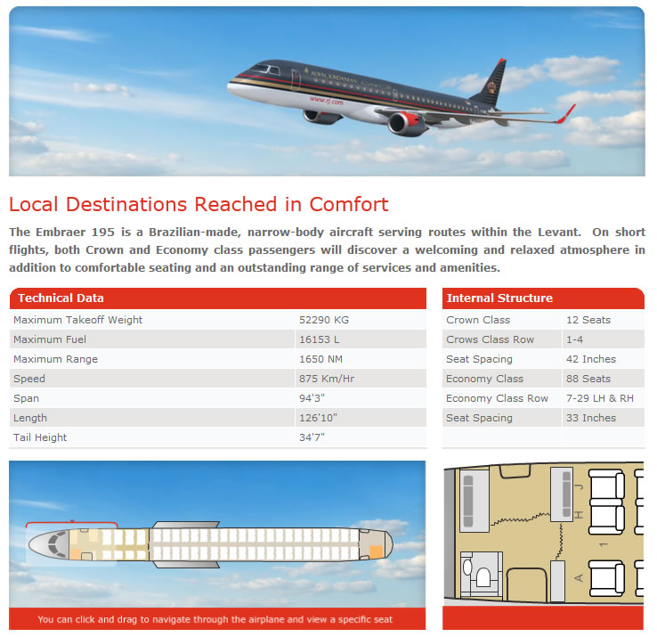 ROYAL JORDANIAN AIRLINES EMBRAER 195 AIRCRAFT SEATING CHART