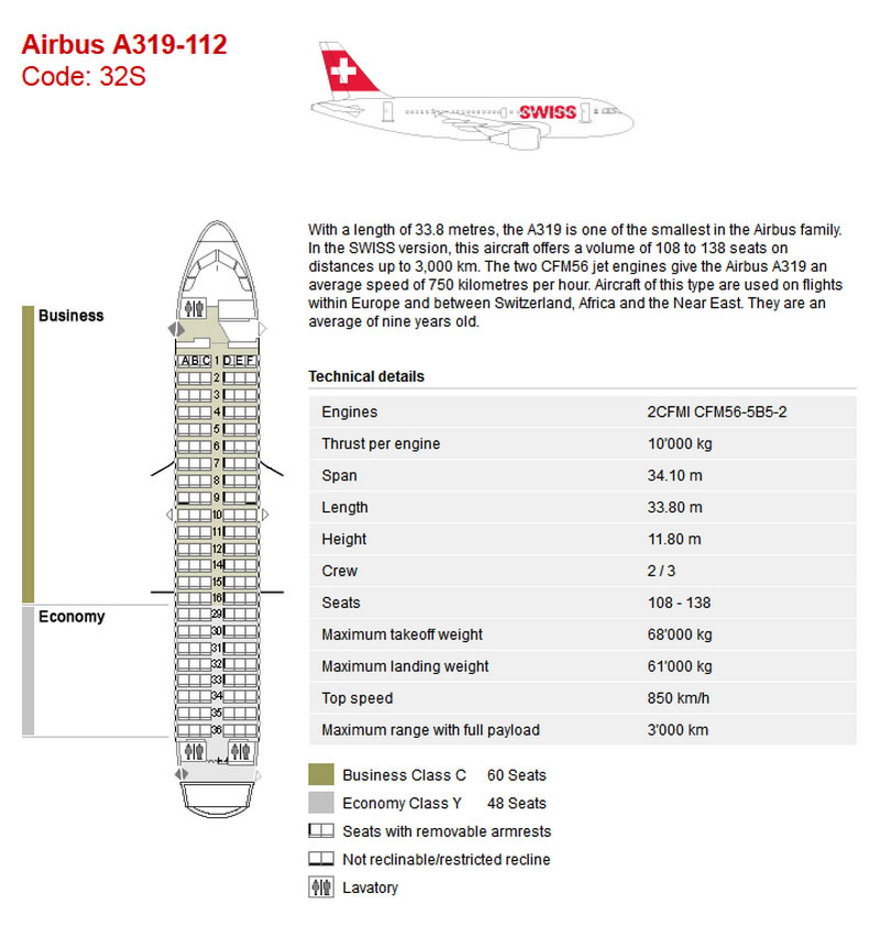 SWISS AIR AIRLINES AIRBUS A319 AIRCRAFT SEATING CHART
