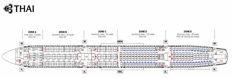 THAI AIRWAYS AIRLINES AIRBUS A340-600 AIRCRAFT SEATING CHART