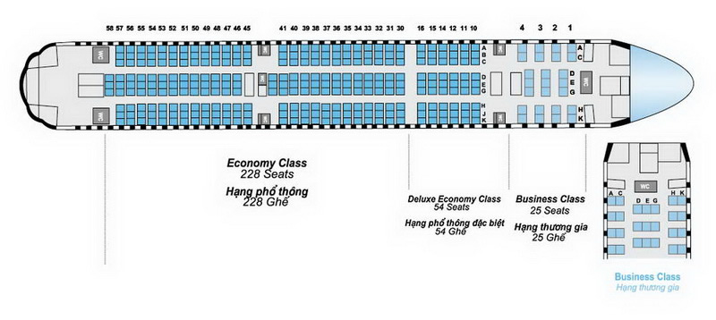 VIETNAM AIRLINES BOEING 777 200ER AIRCRAFT SEATING CHART
