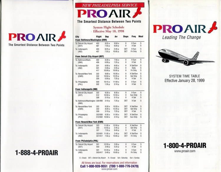 vintage airline timetable for pro air