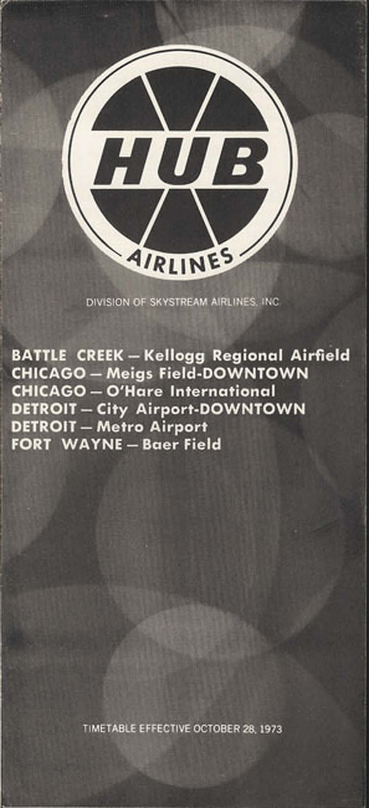 vintage airline timetable for HUB Airlines