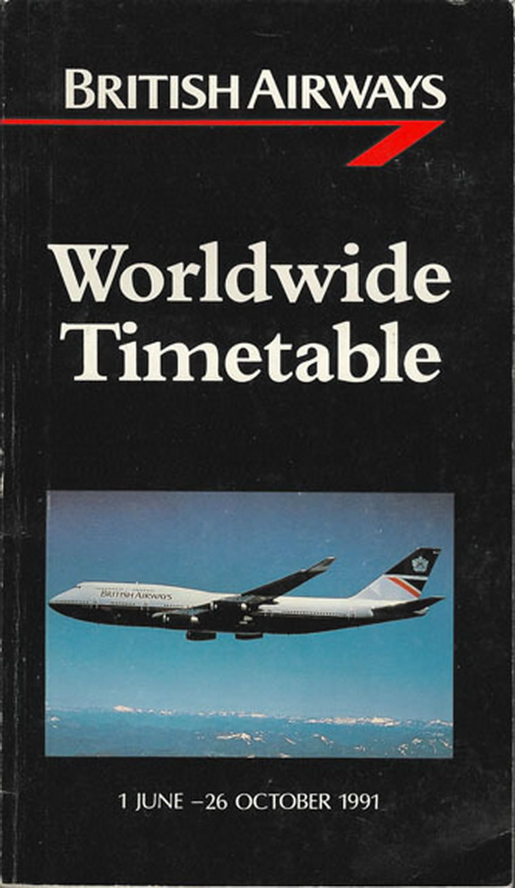 vintage airline timetable for British Airways
