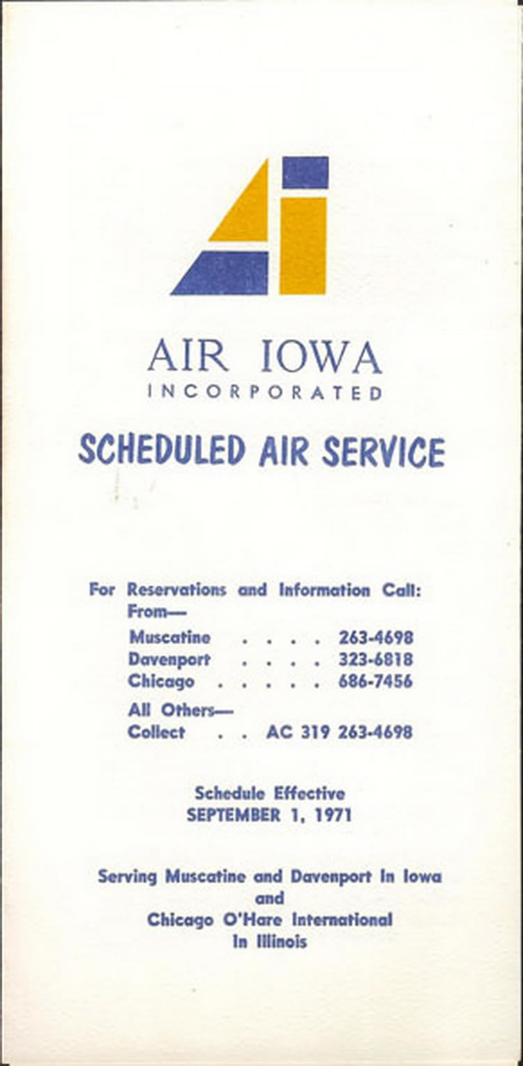 vintage airline timetable for Air Iowa Airlines