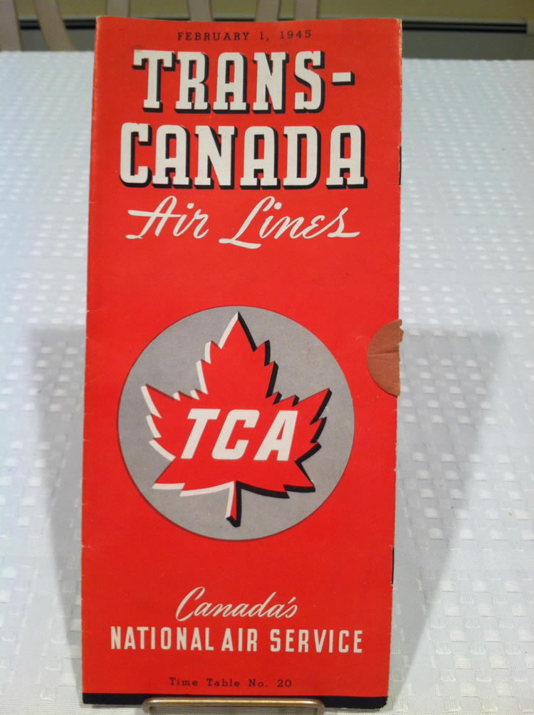 vintage airline timetable for TCA Trans Canada Airlines