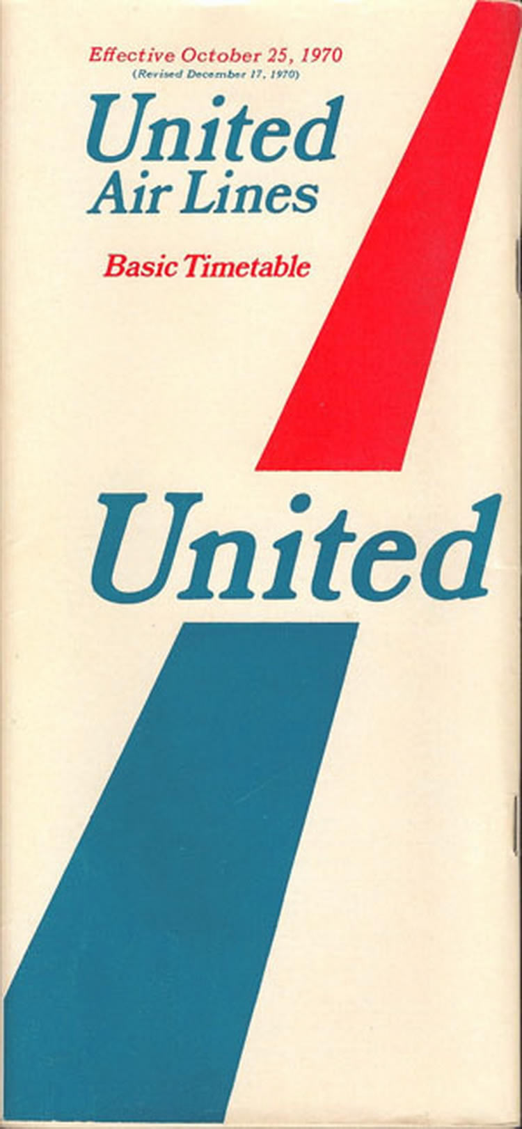 vintage airline timetable for united airlines