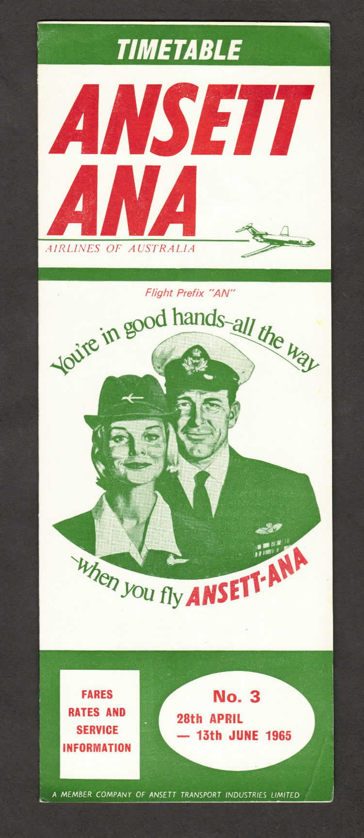 vintage airline timetable for ANSETT Airlines