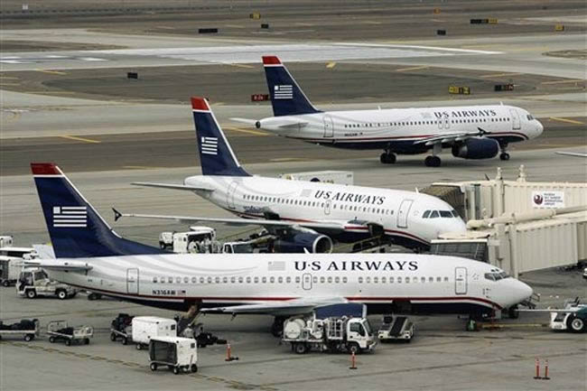Us Airways Aircraft At Airport Gate Boeing 737 And Airbus A320