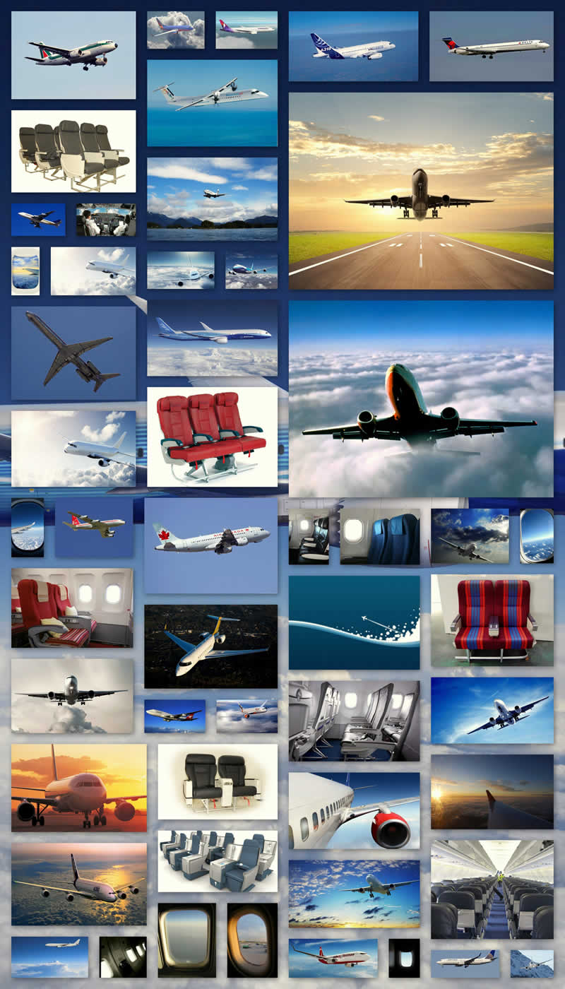 airliner aircraft windows seats travel collage