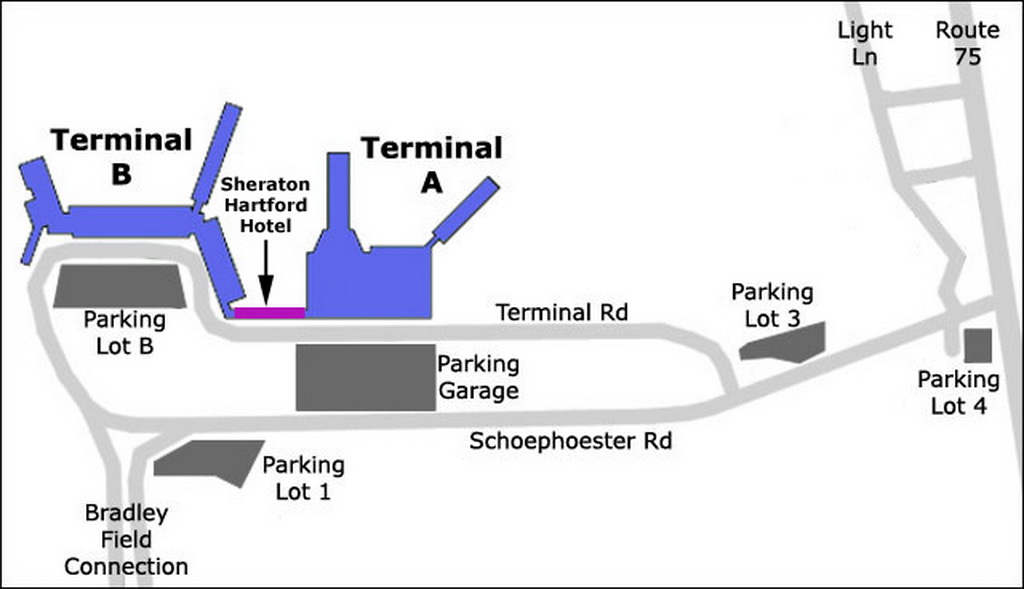Bradley airport map my blog for Lax long term parking lot