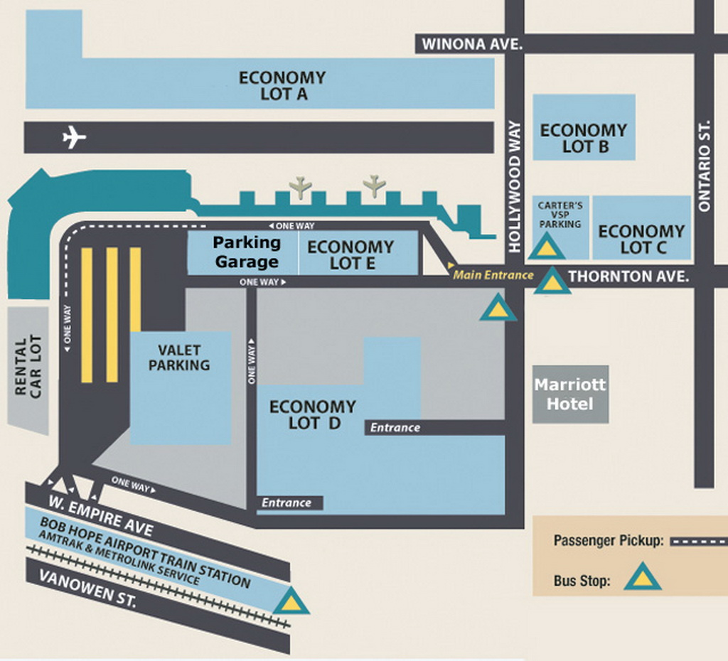Airport Parking Map Burbank Airport Parking Map Jpg