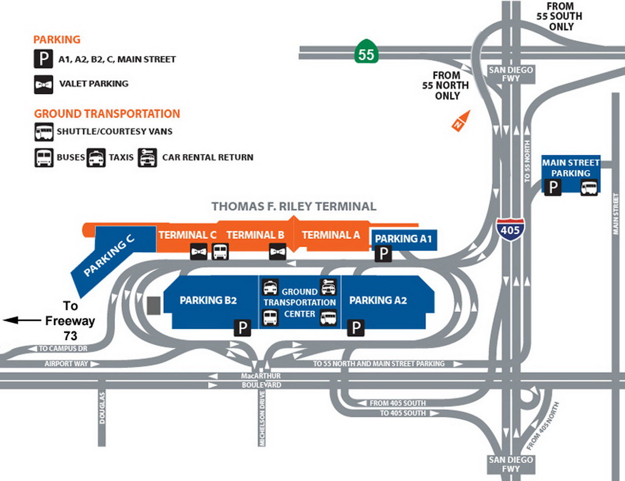 Santa Ana Airport Map Airport Parking Map   john wayne airport parking map.