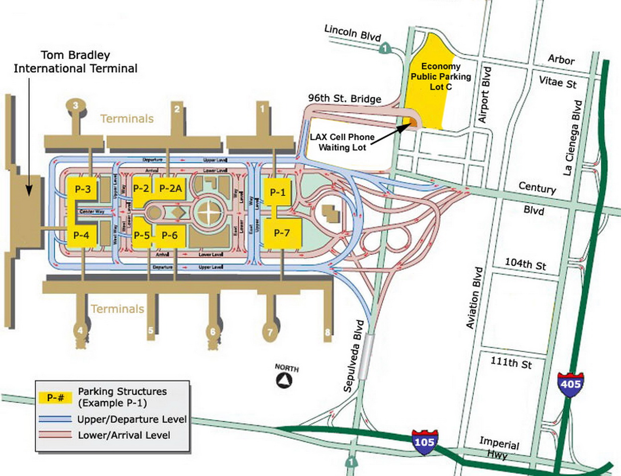 Airport parking map lax airport parking for Lax long term parking lot