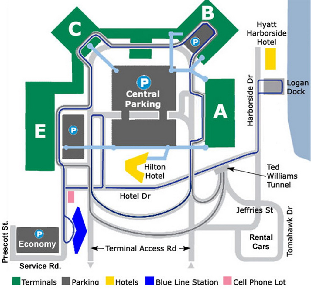 Airport parking map logan airport parking for Lax long term parking lot