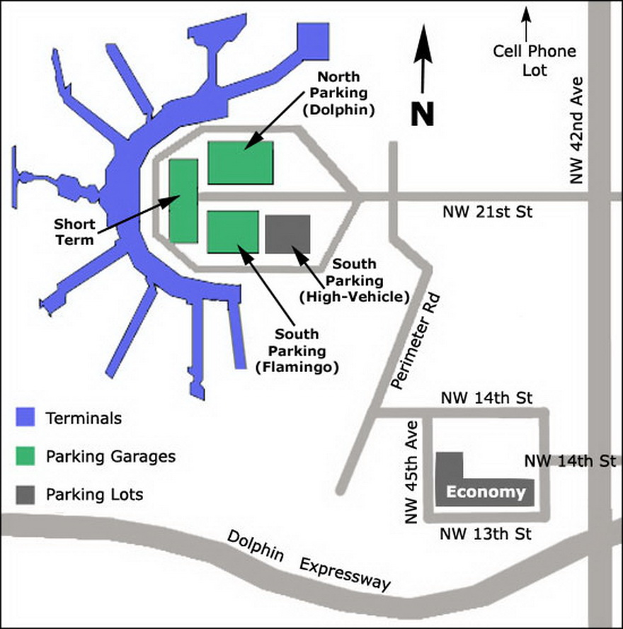 Airport Parking Map Miami Airport Parking Map Jpg