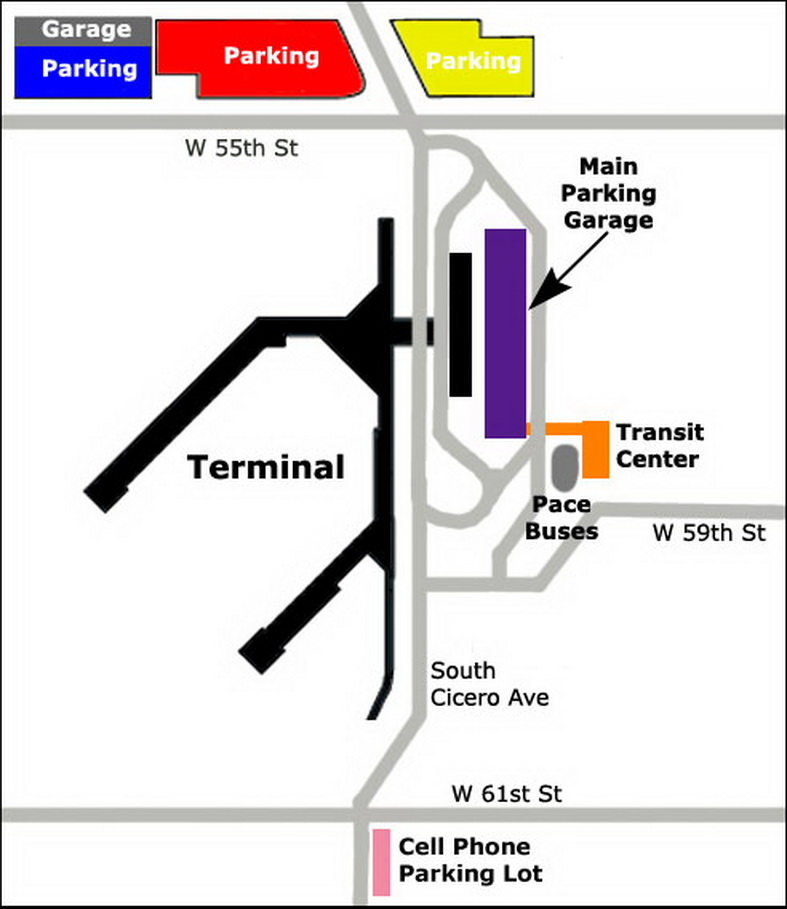 Midway Airport Parking >> Airport Parking Map Midway Airport Parking Map Jpg