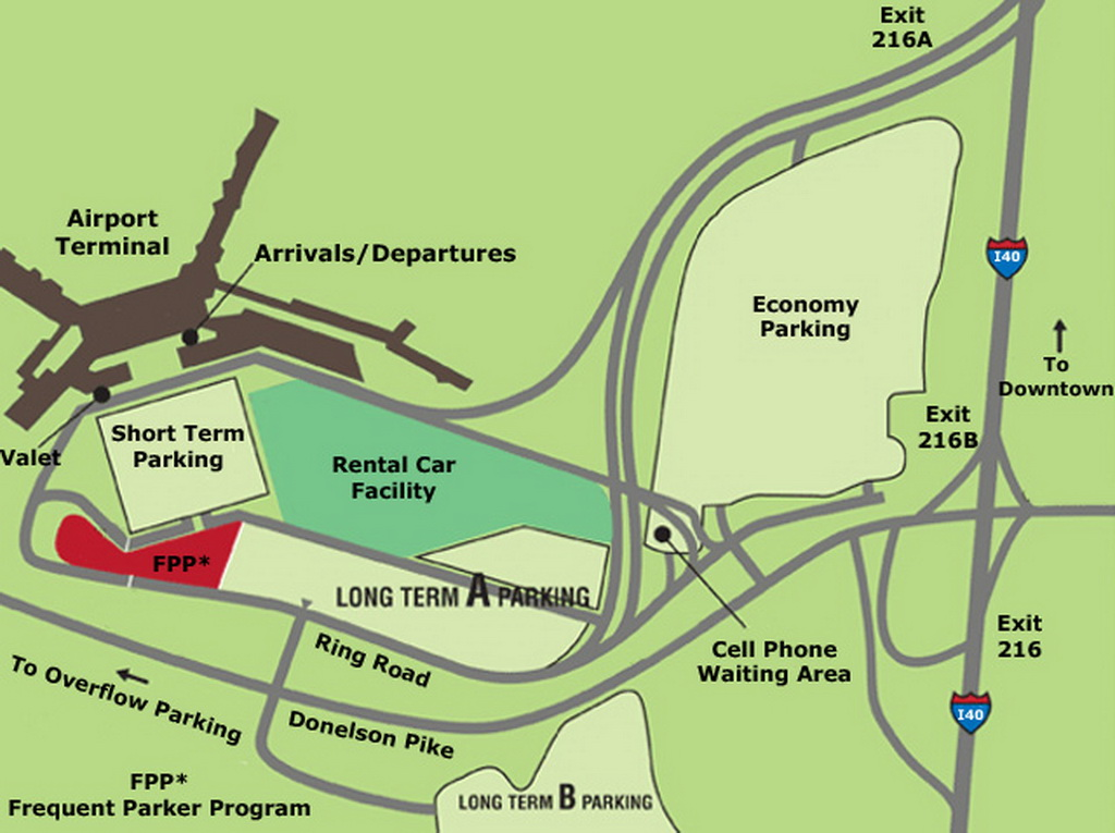 map of nashville airport Airport Parking Map Nashville Airport Parking Map Jpg map of nashville airport