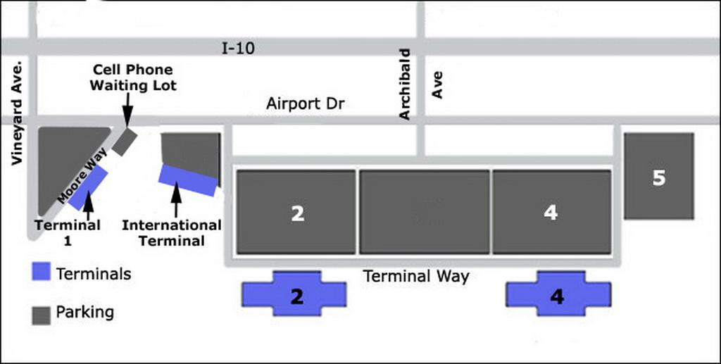 Airport Parking Map ontario airport parking map