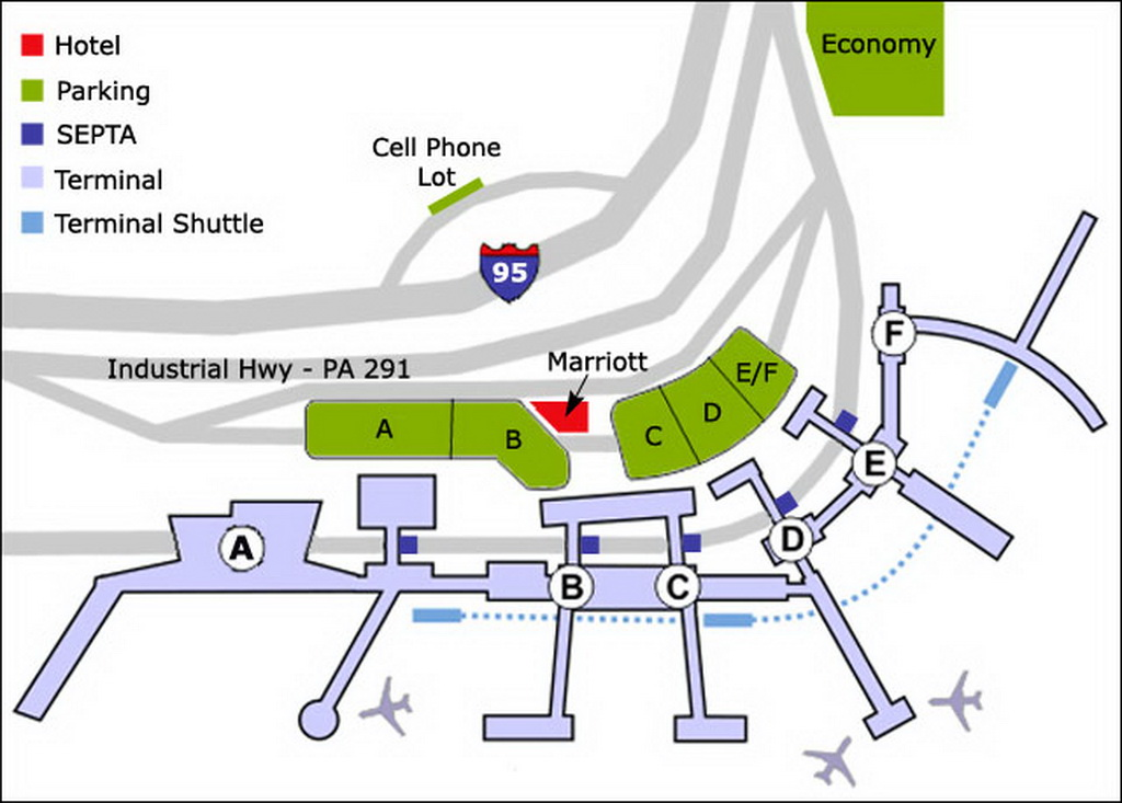 Airport Parking Map   philadelphia airport parking map.