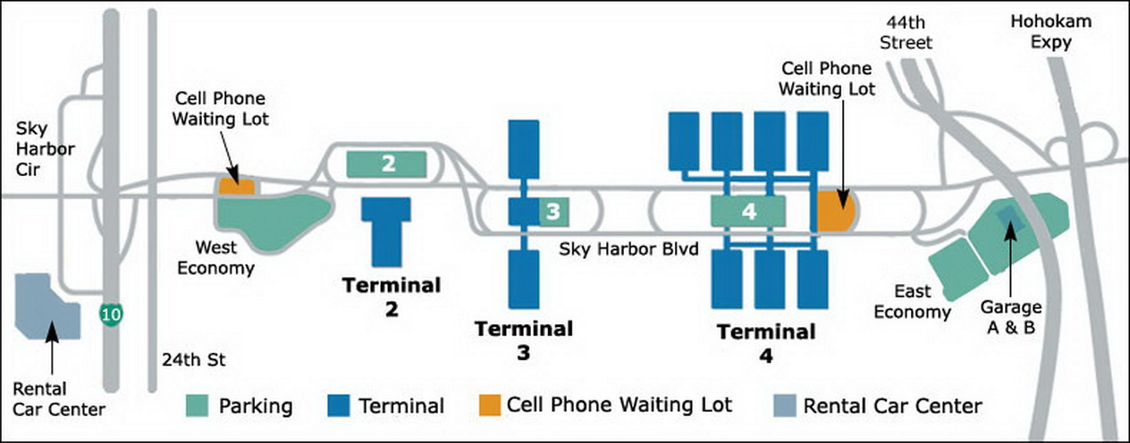 Airport Parking Map  Phoenixairportparkingmapjpg