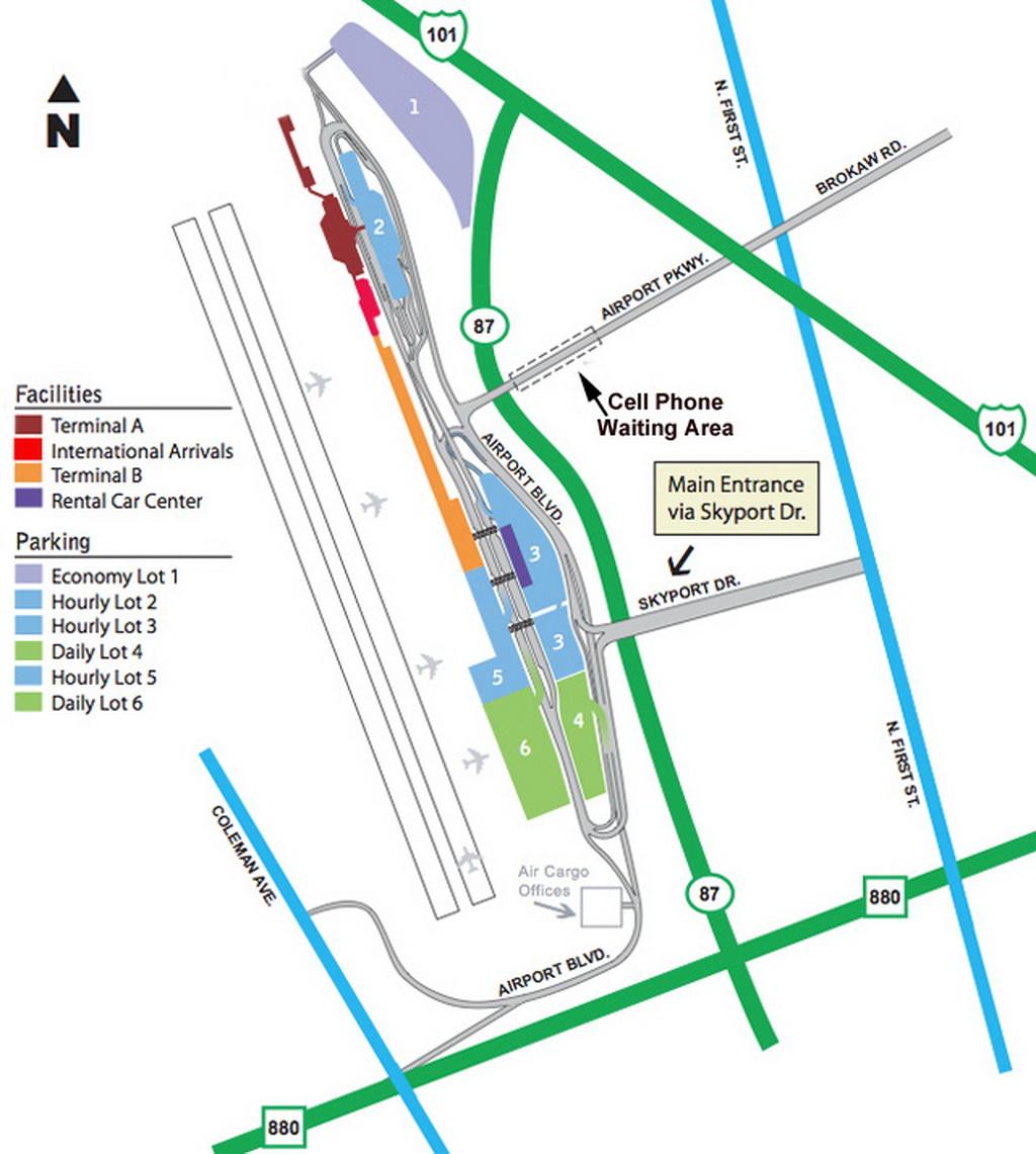 Airport Parking Map sanjoseairportparkingmapjpg