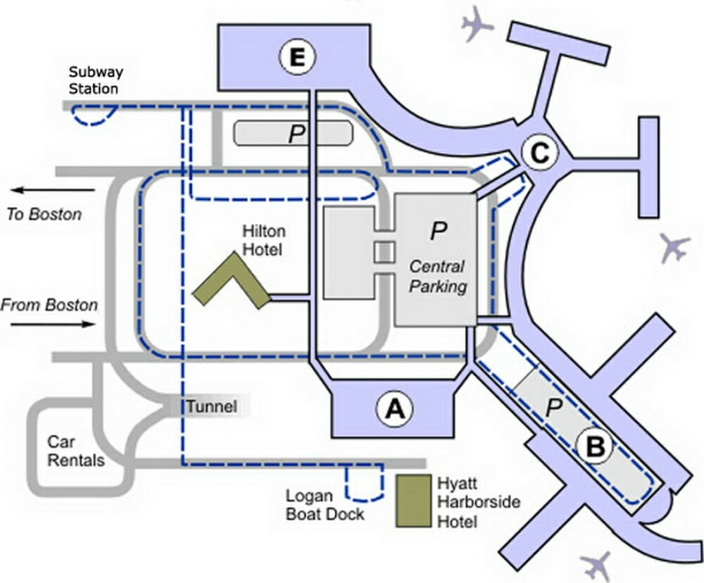 map of boston airport Boston Airport Terminal Map map of boston airport