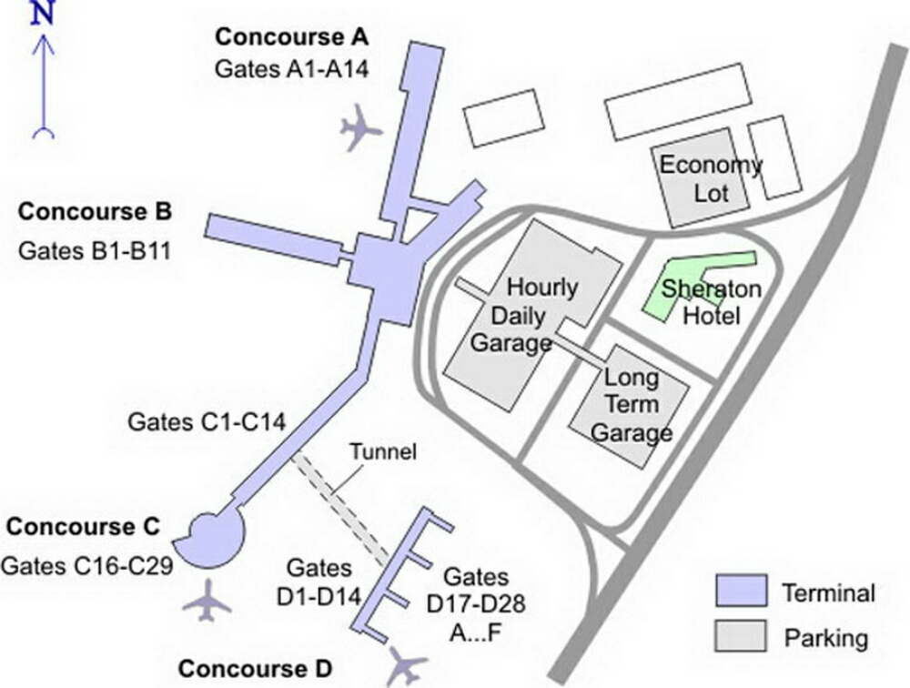 Cleveland Airport Terminal Map Cleveland Hopkins Airport Terminal Map