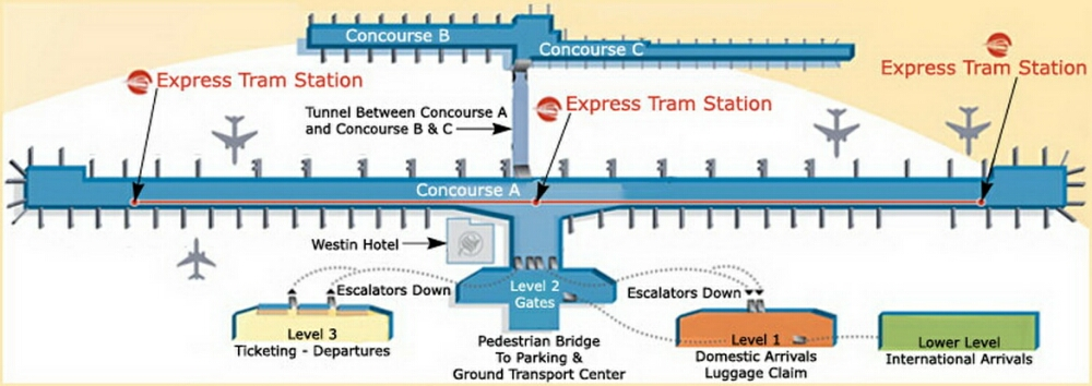 Detroit Metro Airport Terminal Map on