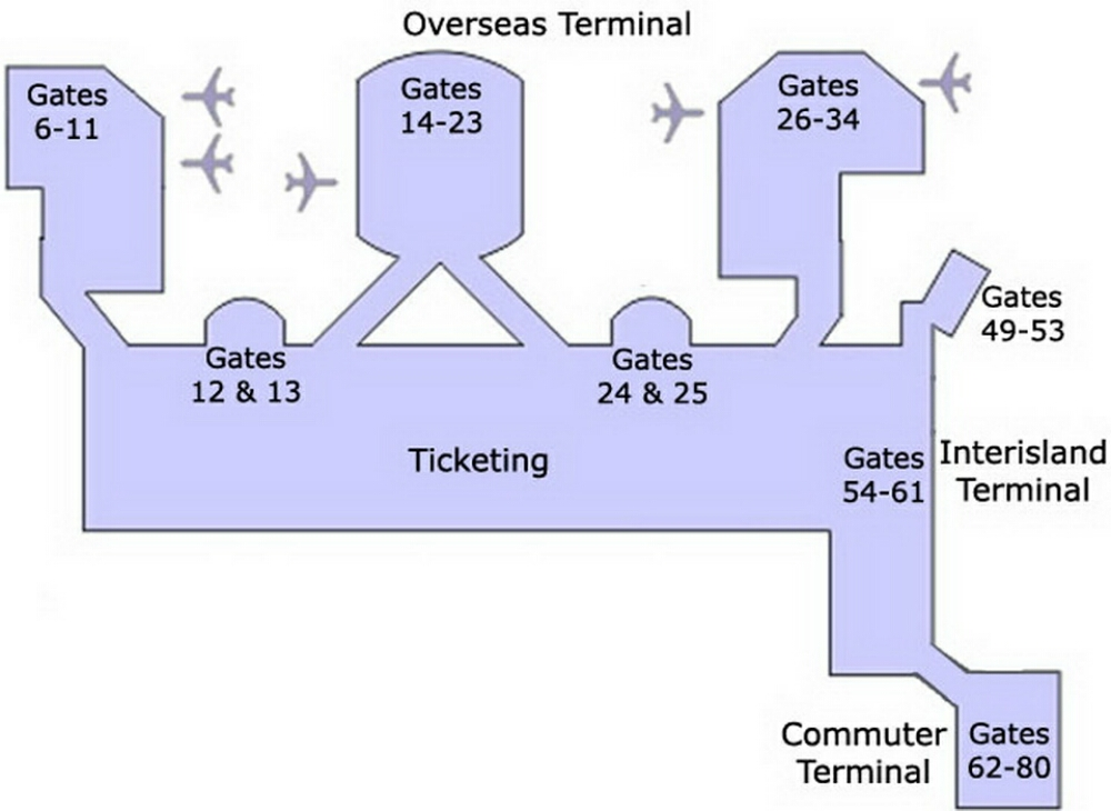 Airport Terminal Map  Honoluluairportgatemapjpg
