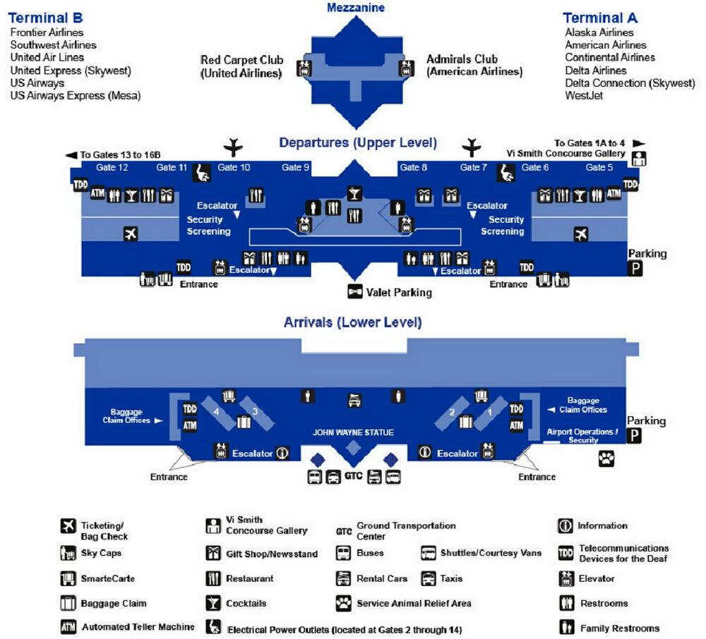 map of john wayne airport Airport Terminal Map John Wayne Airport Terminal Jpg map of john wayne airport