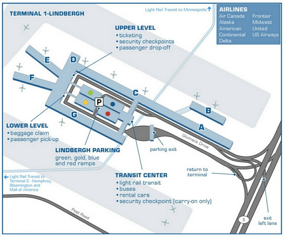 Airport Terminal Map  Minneapolisairportlindbergh