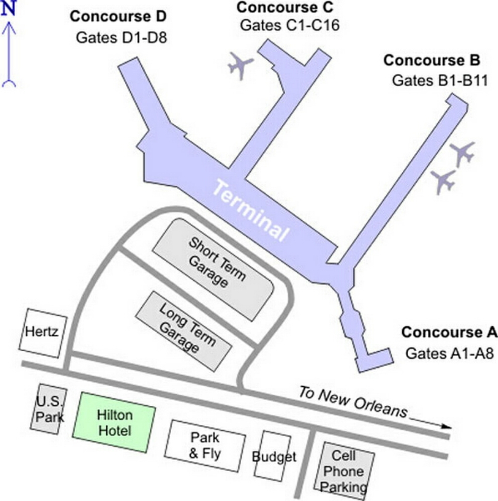 Inside New Orleans Airport Airport Terminal Map New