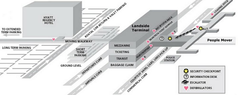 Airport Terminal Map pittsburgh airport landside terminal