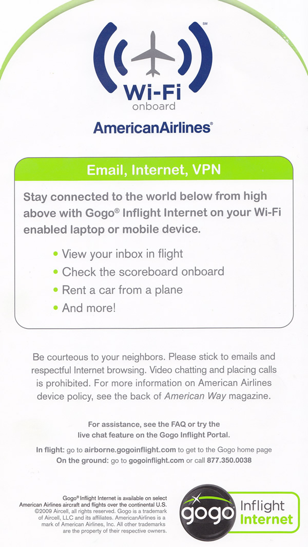 american airlines wi-fi onboard card back