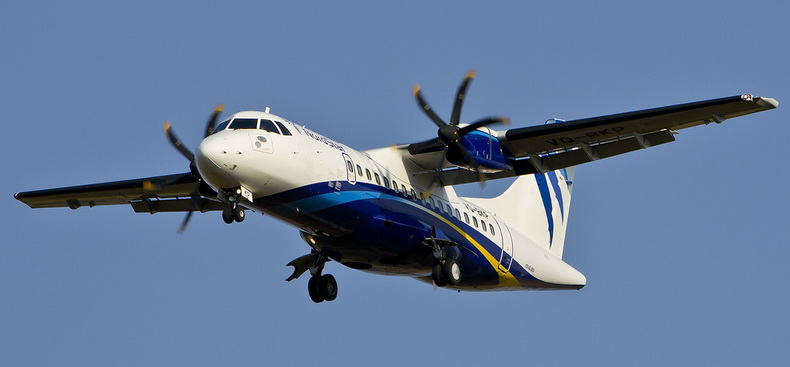 ATR 42 Aircraft Turboprop Flying Gear Down