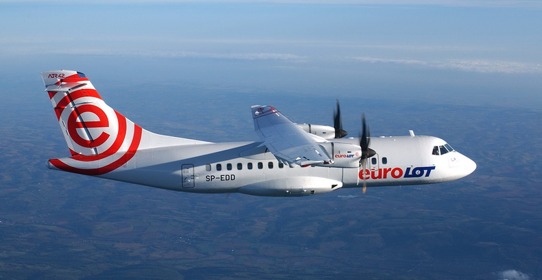 ATR 42 Aircraft Turboprop Of Euro LOT Airlines