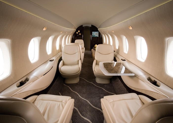leather seats and carpet interior of citation business jet