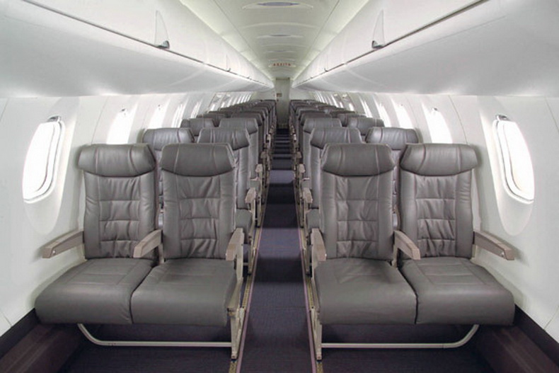 Cabin of the CRJ1000 regional airliner