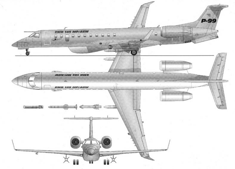 military version embraer erj145 jet 3 view schematic blue print drawing