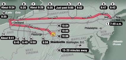 United Flight 93 Map of events