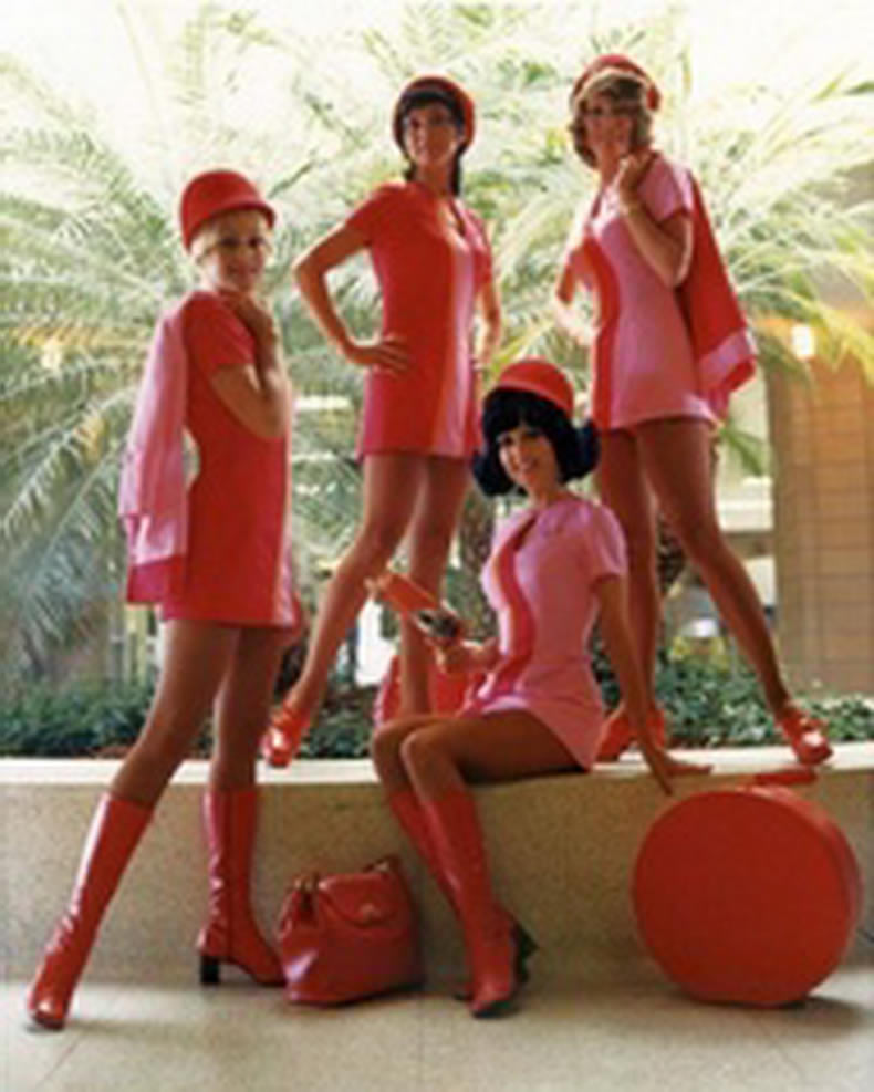 flight attendants in pink!